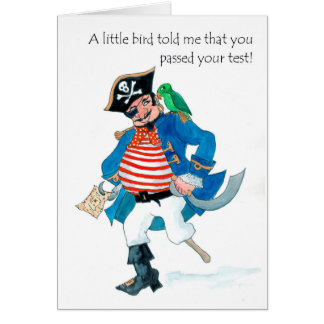 Fun Pirate and Parrot Passed Test Congratulations Card