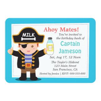 Fun Pirate Captain Boy Theme Birthday Party 4.5x6.25 Paper Invitation Card