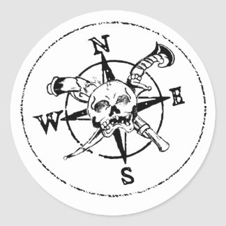 Fun Pirate Compass Logo Round Sticker