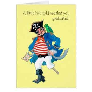Fun Pirate, Parrot Graduation Congratulations Card