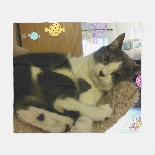 Fun Playful Cat Picture Fleece Blanket