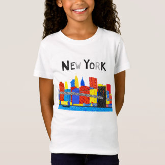 Fun, Playful Illustration of Manhattan Skyline T-Shirt
