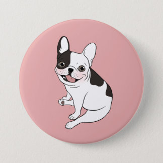 Fun playtime for the Single hooded pied Frenchie 3 Inch Round Button