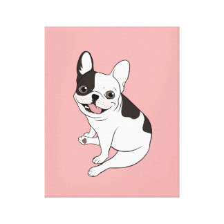 Fun playtime for the Single hooded pied Frenchie Canvas Print