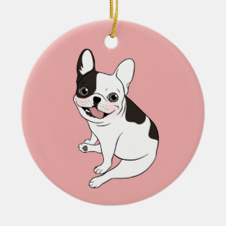 Fun playtime for the Single hooded pied Frenchie Ceramic Ornament