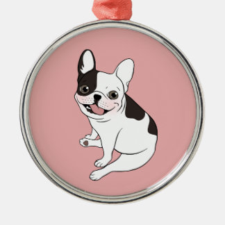 Fun playtime for the Single hooded pied Frenchie Metal Ornament