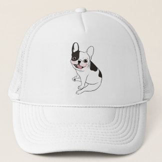 Fun playtime for the Single hooded pied Frenchie Trucker Hat