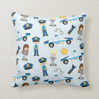 Fun police and car pattern house decor pillow