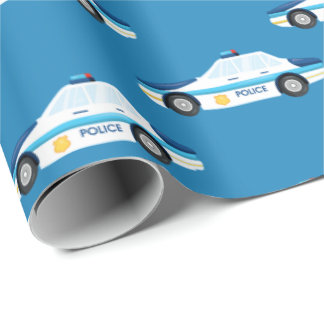 Fun police car tiled pattern party wrap wrapping paper