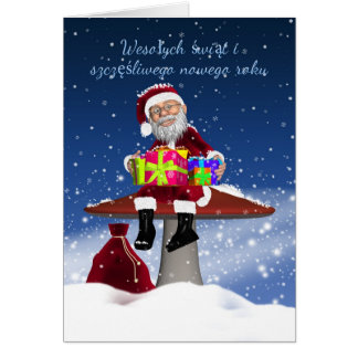 Fun Polish Christmas Card With Santa