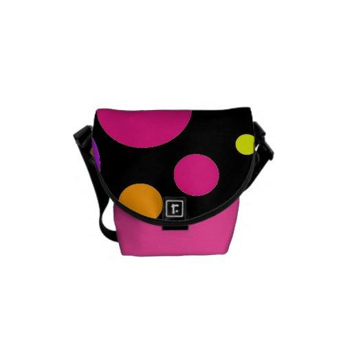 Fun Polka Dots Black Orange Purple Teal Pink Messenger Bag