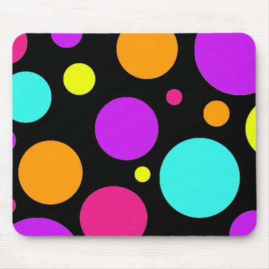 Fun Polka Dots Black Orange Purple Teal Pink Mouse Pad
