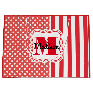 Fun Polka Dots & Stripes w/Personalization Large Gift Bag