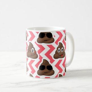 Fun Poop Emoji Red ZigZag Pattern Coffee Mug