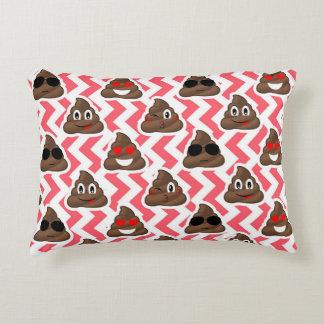 Fun Poop Emoji Red ZigZag Pattern Decorative Pillow