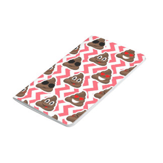 Fun Poop Emoji Red ZigZag Pattern Journal