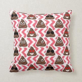 Fun Poop Emoji Red ZigZag Pattern Throw Pillow
