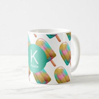 Fun Popsicle Pattern with Monogram Coffee Mug