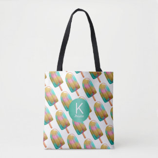 Fun Popsicle Pattern with Your Monogram Tote Bag