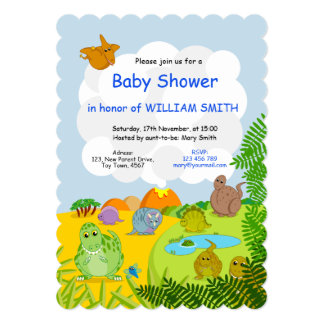 Fun prehistoric Jurassic dinosaur boy baby shower, Card