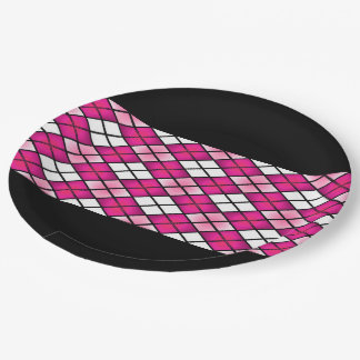 """""""Fun Prints"""" Hot Pink Argyle 9 Inch Paper Plate"""