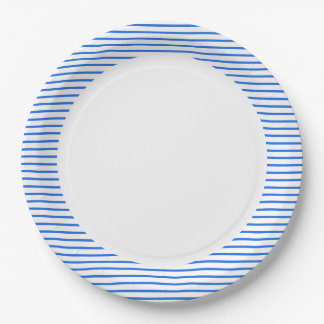 """Fun Prints"" Nautical_Blue-Stripes_Unisex Paper Plate"