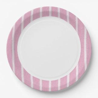 """""""Fun Prints""""Oxford-Stripe-Baby Pink Paper Plate"""