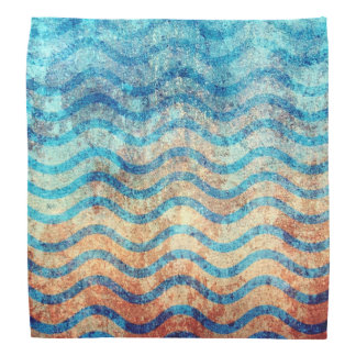 Fun Psychedelic Blue and Gold Wave Pattern Bandanas