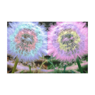 Fun Psychedelic Bright Colorful Dandelion Flowers Canvas Print