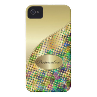 Fun Psychedelic with a Splatter of Gold Dots Case-Mate iPhone 4 Case