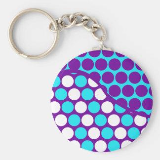 Fun Purple and Teal Polka Dot Wave Pattern Keychain