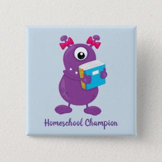 Fun Purple Monster Homeschool Champion 2 Inch Square Button