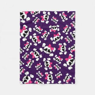 Fun purple skulls and bows fleece blanket