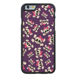 Fun purple skulls and bows carved® maple iPhone 6 slim case