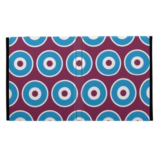 Fun Purple Teal Blue Concentric Circles Pattern iPad Case