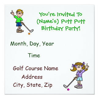Fun Putt Putt Golf Birthday Party Invitations