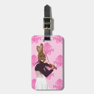 Fun rabbit playing violin luggage tag