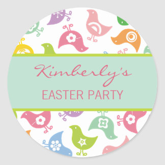 Fun Rainbow Chicks Easter Party Favor Sticker