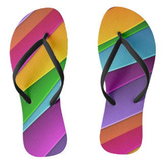 Fun Rainbow Design Flip Flops