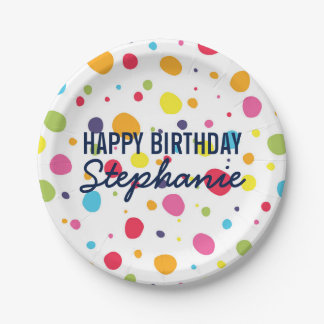 Fun Rainbow Dot Personalized Birthday Plates