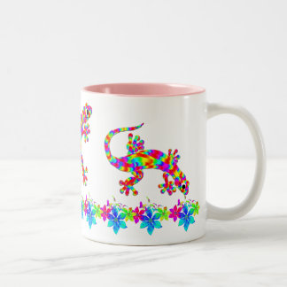 Fun Rainbow Salamander Mug with Bright Flowers