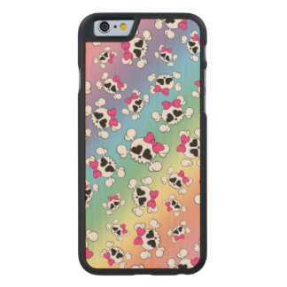 Fun rainbow skulls and bows carved® maple iPhone 6 slim case