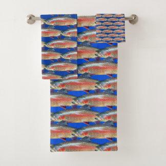 Fun Rainbow Trout Pattern Bath Towel Set