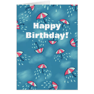 Fun Raining Cartoon Umbrella Pattern Birthday Card