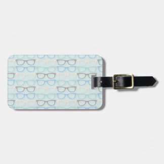 Fun Reading Glasses Pattern on Blue Luggage Tag