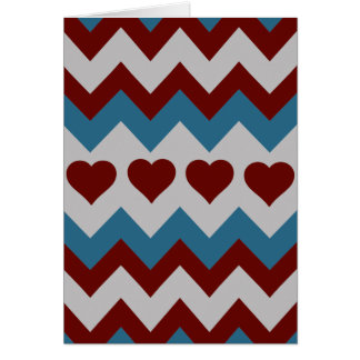 Fun Red and Blue Hearts Chevron Pattern Card