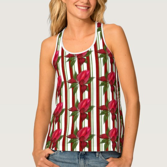 Fun Red and Green Striped Floral Tank Top