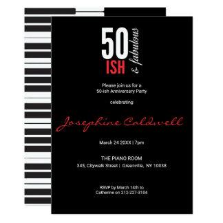 Fun Red & Black 50-ish and Fabulous Invitation