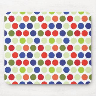 Fun Red Blue Green Polka Dot Pattern Mouse Pad