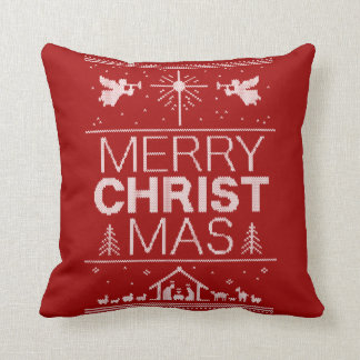 Fun Red Merry Ugly Christmas Sweater Religious Throw Pillow